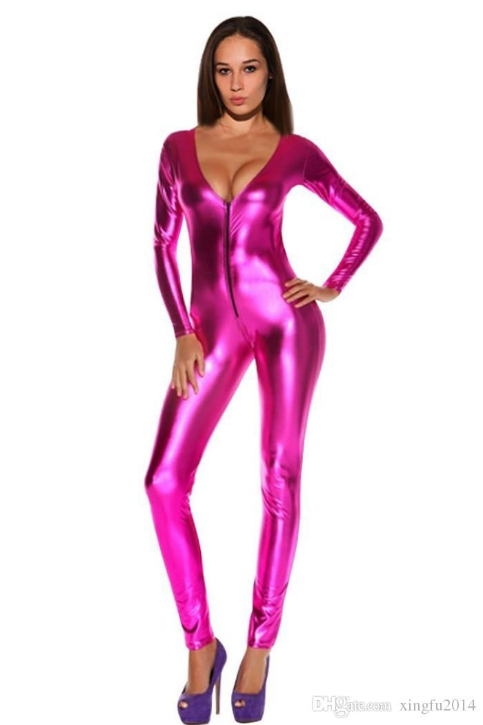 Sexy Zipper Catsuit Erotic Female Body With Long Sleeves Leather Jumpsuit Sexy Bodysuit Club Pole Dance Red/Black Costume