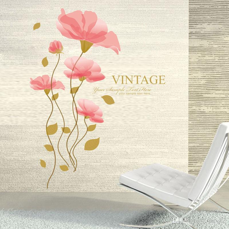 Yeni Lotus Çiçek Duvar Çıkartmaları Romatic TV Arka Plan Çıkarılabilir Vinil Çıkartmalar Ev Dekorasyon Ücretsiz Nakliye Için