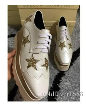 new wholesale Stella Mccartney women Shoes platform Rose Gold Genuine Leather Upper with Pink Stars and White Sole Stars Shoes