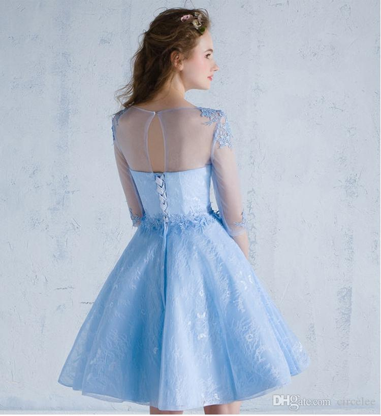 Elegant Blue Prom Dress Online Cheap Evening Gowns Formal Wear For Women Short Party Dresses Celebrity Special Occasion Dress