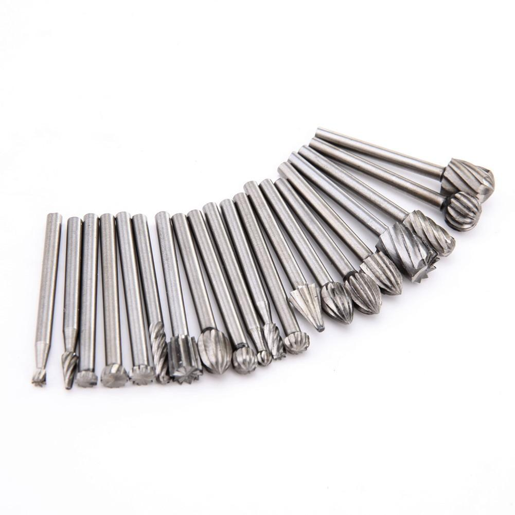 20pcs/Set 3mm Shank HSS Dremel Routing Wood Rotary Milling Rotary File Cutter Woodworking Carving Carved Knife Cutter Tool