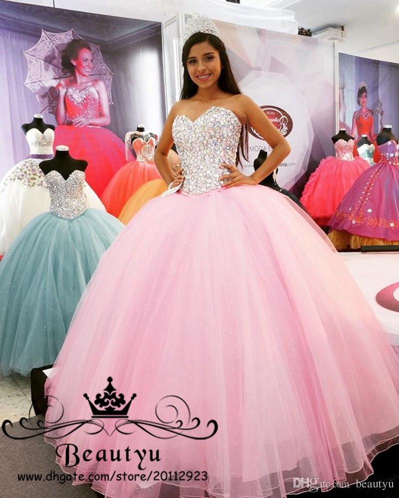 cc126b93152 Vestido Infantil Rosa Princesa Vestido De Baile Quinceanera Vestidos  Cristais Brilhantes Lace Up Voltar Sweet 16 Dress 2018 Novo Plus Size Tulle  Prom ...