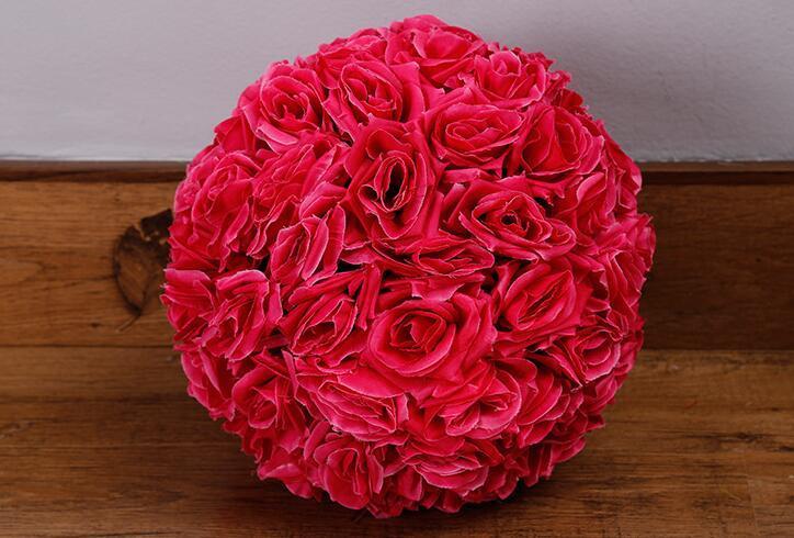 12 인치 인공 꽃 결혼식 정원 시장 장식 볼 웨딩 실크 Pomander 키스 볼 꽃 볼 장식 꽃 장미