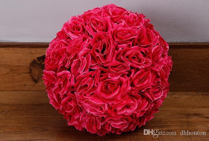 12 pulgadas de flores artificiales de seda rosa bola de la boda Pomander se besa bola bola de la flor de flores para la decoración decorar el jardín de mercado de la boda