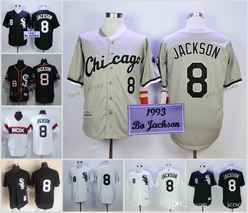 8c8daf5674e ... 2017 2017 Mlb Flexbase Chicago White Sox 8 Bo Jackson Baseball Jersey  White Black Grey Cool ...