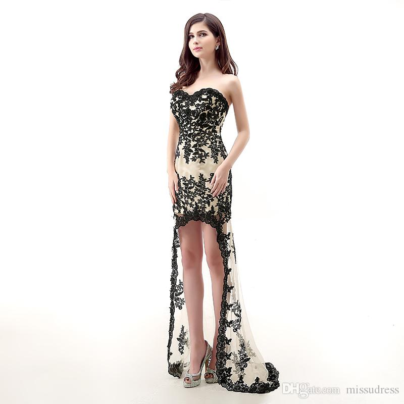 Sweetheart Lace black prom dresses Beaded high low prom dresses Backless Short front Long Back Evening Dresses