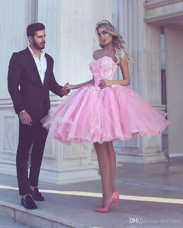 2016 barato novo vestidos de cocktail sweetheart árabe rosa tulle laço apliques vestido de bola curto mini festa graduação vestidos de regresso homecoming