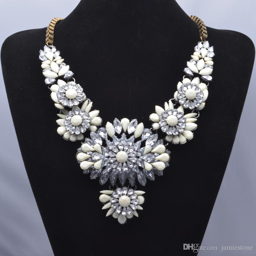 Fashion optional NEW shourouk luxurious water-drop resin crystal flower bridal jewelry statement necklace for women