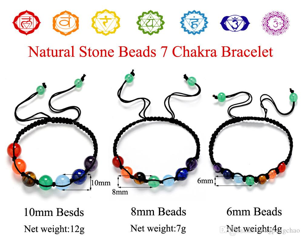 Hot Sale Fashion Energy Yoga Reiki 7 Chakra Bracelet Natural Stone amethyst lapis lazuli Tiger Eye 6mm 8mm 10mm Beads Braided Rope Bracelets