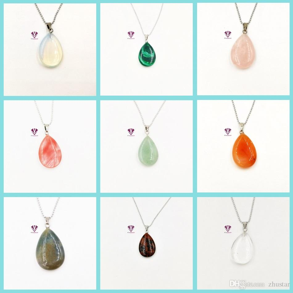 Wholesale-Quartz Crystal Gem Natural Stone Chakra Point Healing Water Drop Pendant Necklace For Women