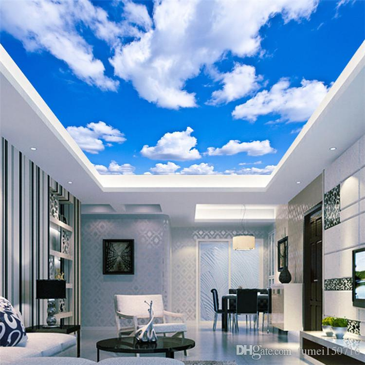 Blue Sky White Cloud Wallpaper Mural Sala Quarto Telhado Teto 3d Wallpaper teto Grande Starry Sky Wallpaper