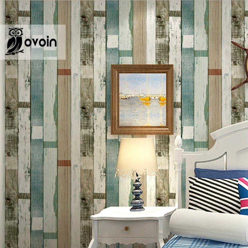 Wholesale Designer Rustic Embossed Wood Panel Wallpaper