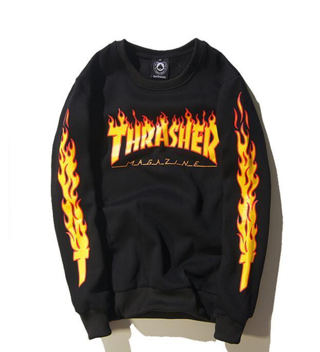 de202b5a7201 Wholesale-NEw Fashion Thrasher Hoodie Hip Hop Black Flame Sleeve ...