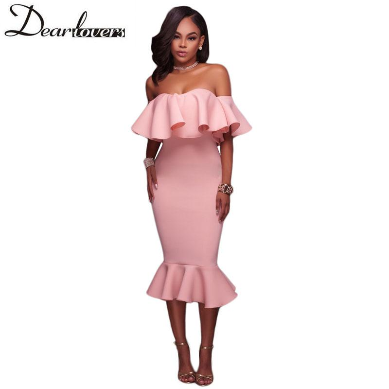 2018 Wholesale Dear Lover Off Shoulder Ruffle Midi Dress 2017 New ...