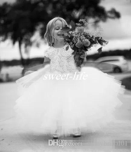 Vintage 2017 Wedding White Lace and Tulle Flower Girl Dress Short Sleeve Sash Layed Tutu Skirt Kids Communion Formal Wear Dress Custom Made