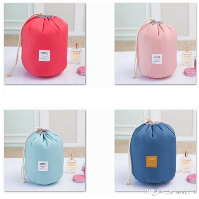 Hot Cosmetic Bags elegant large capacity Barrel Shaped Nylon Wash Organizer Storage Travel Dresser Pouch Cosmetic Makeup Bag For Women