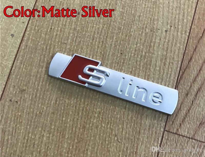 3D S LINE SLINE Araba Ön Izgara Amblem Rozeti Metal Alaşım Çıkartmalar Aksesuarları Styling Audi A1 A3 A4 B6 B8 B5 B7 A5 A6 C5 C6 A7 TT