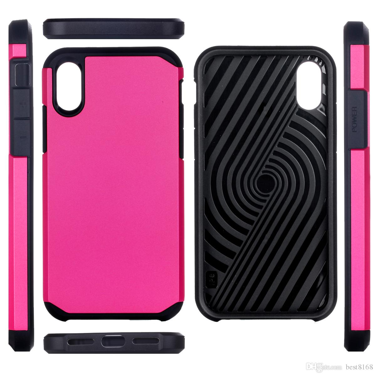 Zırh Robot Vaka Iphone X 5.8 inç / Galaxy Note8 Not 8 Sağlam Darbeye Hibrid Sert Plastik + TPU Defender Lüks Cep Telefonu Cilt Kapak