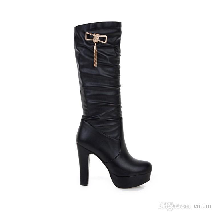 Bottes PU 33 40 41 Chaussures courettes de femme 32 talon haut 12CM plate-forme 3.5CM EUR Taille 31-45