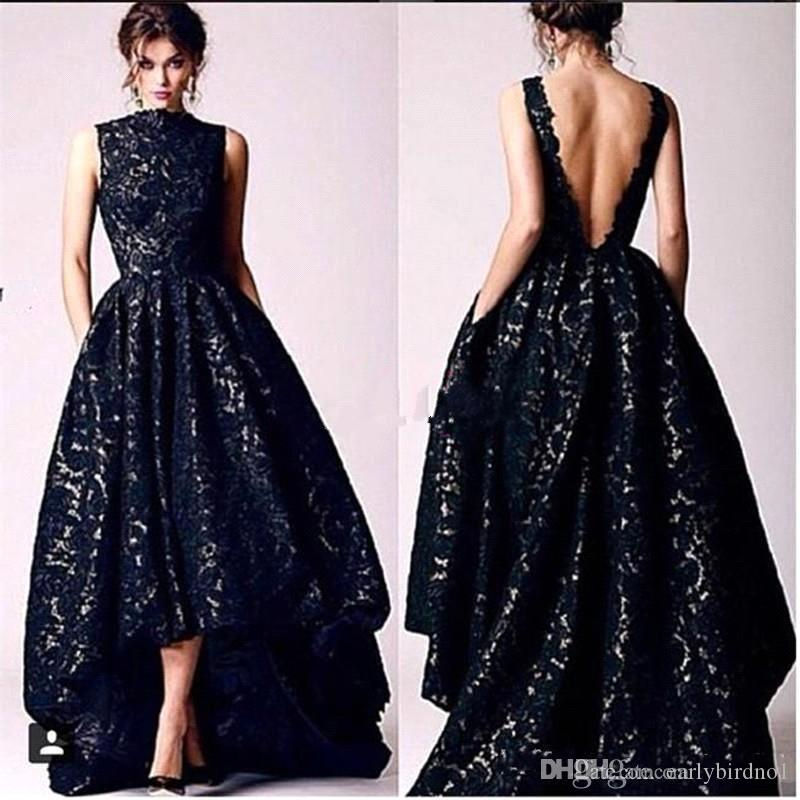 2017 New Arabic High Low Black Lace Prom Party Dresses Vintage High 71da999db