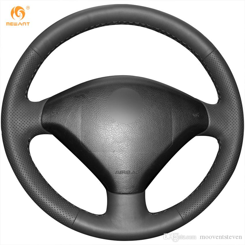 mewant black genuine leather steering wheel cover for peugeot 307