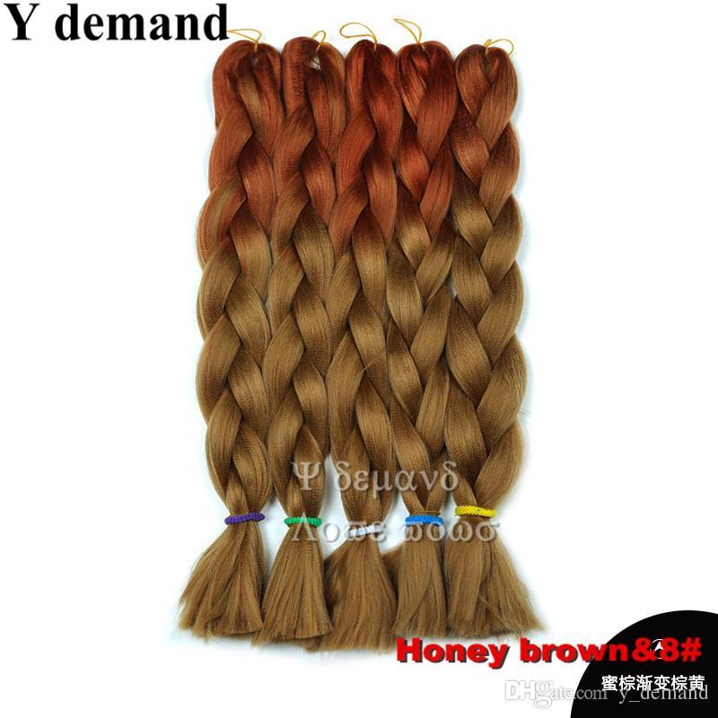 24 '' 100g Ombre Kanekalon Tressage Extension De Cheveux Pour Box Braids Cheveux Synthétique Crochet Jumbo Braid Y demande