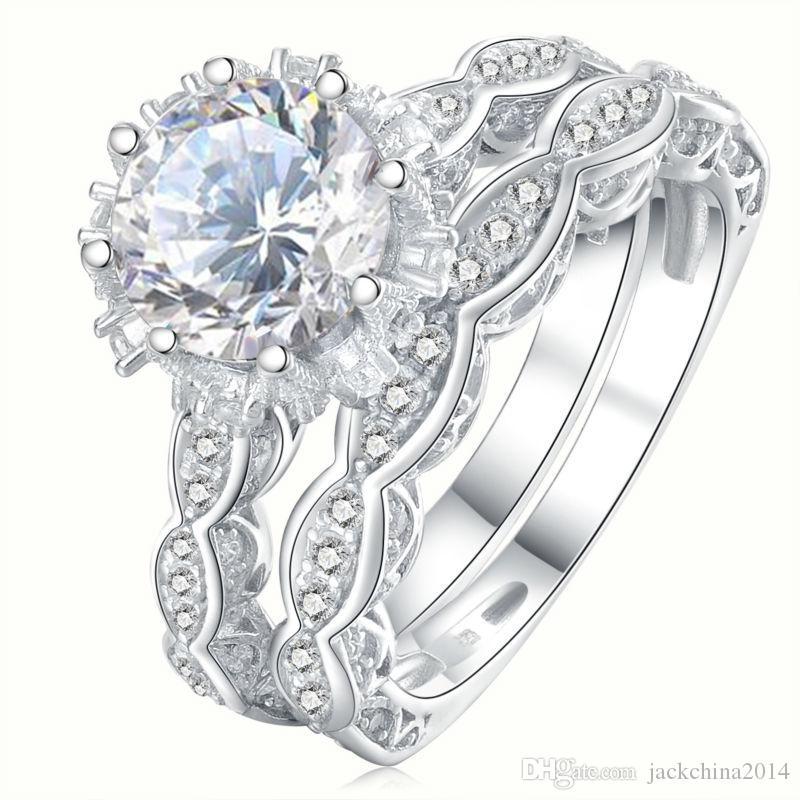 Victoria WIEeck 8mm Big Stone White Topaz Luxus Schmuck 925 Sterling Silber Simulierte Diamant Edelsteine Hochzeit Frauen Band Ring Geschenk SZ5-11