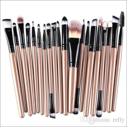 Profesional 20 unids Maquillaje Pinceles Set Cosméticos Cara Sombra de Ojos Cepillos Herramientas Kit de Maquillaje de Cejas Cepillo de Labios Envío rápido de DHL