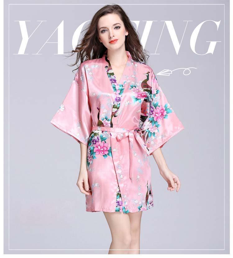 여성용 잠옷 기모노 야간 가운 인공 실크 새틴 웨딩 신부 들러리 짧은 꽃 무늬 가운 짧은 꽃 목욕 가운