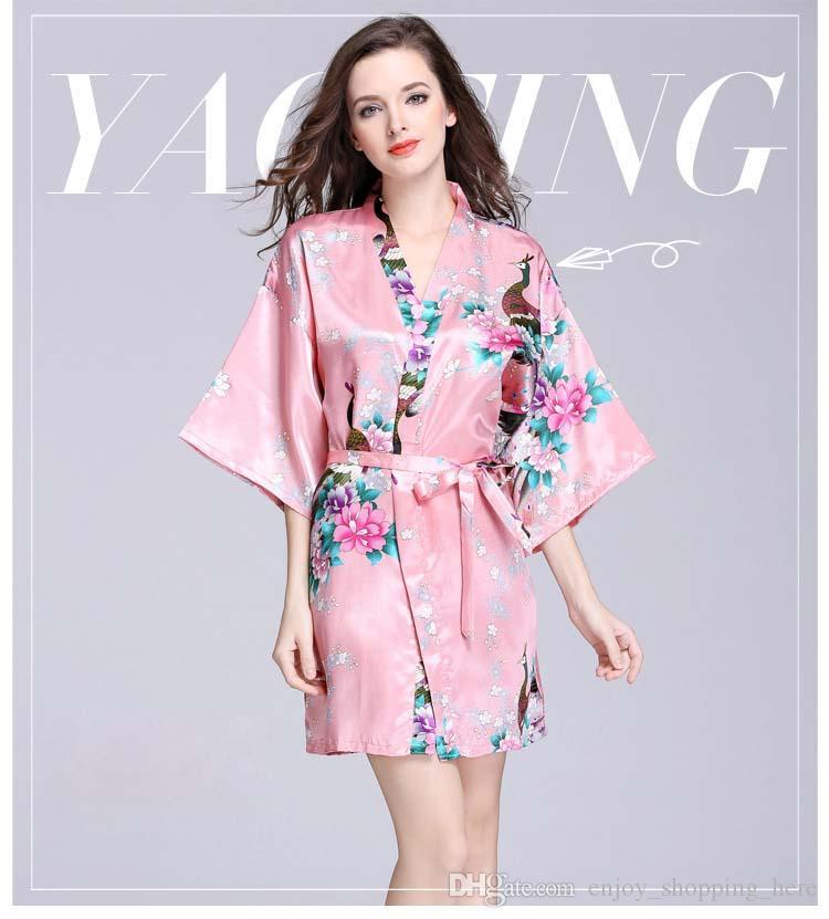 Ropa de dormir para mujer Kimono Noche Robe Seda Artificial Satén Novia de boda Dama de honor Robas Corta Floral Albornoz Peignoir Femme Vestido de vestir