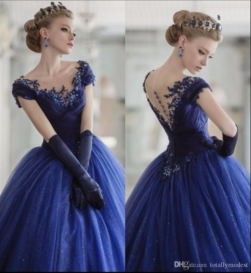 Abiti da sposa Royal Blue Colorful Ball Gown con Abiti da sposa Abiti di colore Deriai Deriai Berretto in rilievo Abiti da sposa non bianchi su misura