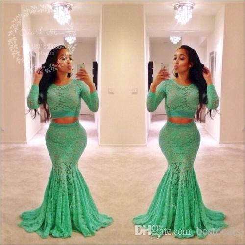 Lime Green Lace Two Pieces Prom Dresses 2017 Long Sleeves Mermaid Evening  Dress African Plus Size Black Girls Formal Party Gowns White Long Prom ...