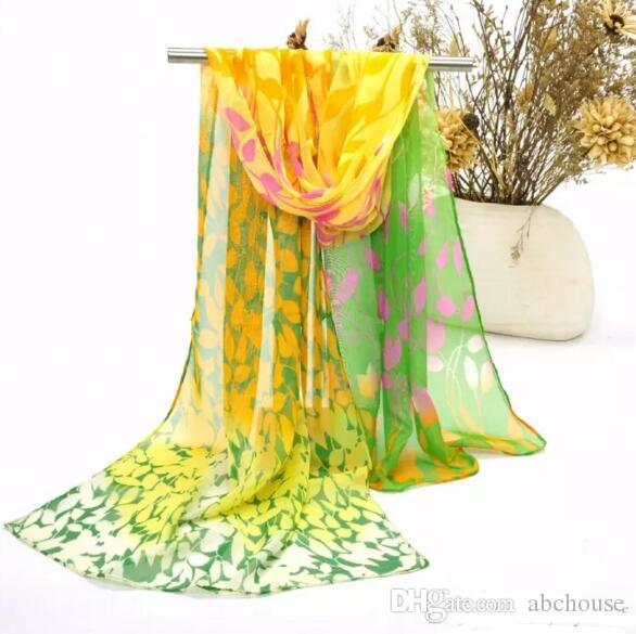 새로운 도착 패션 여성을위한 화려한 쉬폰 스카프 레이디 야외 비치 Sarongs 리프 패턴 스카프 믹스 색상 / 무료 배송