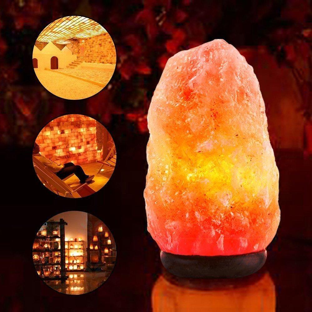 Натуральные Гималайские Кристаллические Лампы из Каменной Соли Ручная Резка Соляные Лампы Ночного Света с Деревянной Лампой Шнур Питания и Диммер
