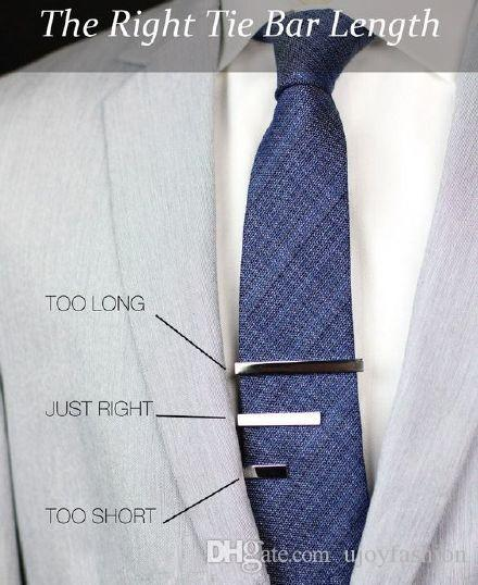 Mens Tie Clip Classic Bar Pin metal silver Plain Standard Silver Tone Laser Curve K series