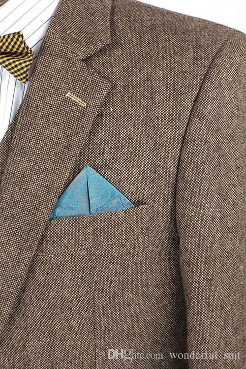 Retro de color claro de color marrón Tweed por encargo del novio Tuxedos para hombre trajes de 3 piezas slim fit trajes de boda a medida para hombres