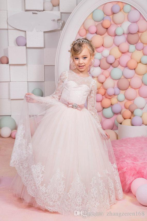 3ff658607 White Lace Yarn First Holy Communion Dresses With Sleeves Baptism Christen  Dress Long Sleeve Pink Flower Girl Dresses Joan Calabrese Flower Girl  Dresses ...