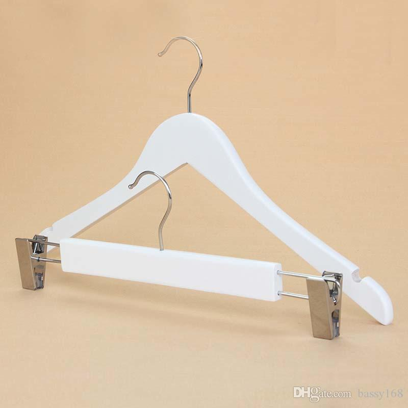 33-40cm White Wood Hanger for Lady Man Adult clothes skirt Trousers Pants Racks with Clips Solid Wooden Hanger with Chrome Round Hook