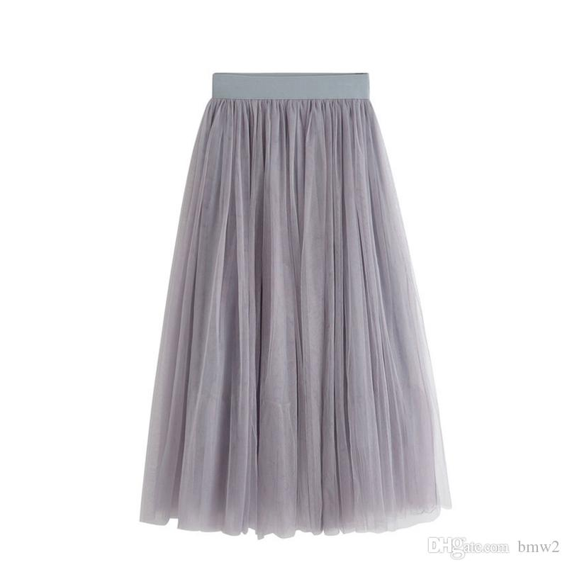2294d4c5bdf 2017 New Summer Tulle Skirts Womens Black Gray White Adult Tulle Skirt  Elastic High Waist Pleated Midi Skirt Online with  23.1 Piece on Bmw2 s  Store ...