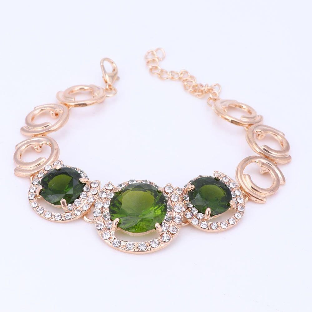 Conjuntos de Jóias de Noiva de Ouro Cor de Luxo de Luxo Rodada Conjuntos de Jóias Conjuntos de Jóias de Casamento Brincos De Cristal Verde Colar de Casamento