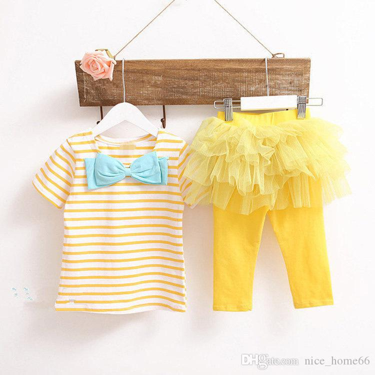 Summer Children Sets Girls Striped TShirt +Skirt Pants Kids Princess Dress Sets Girl Summer Suits Girl tutu Dress