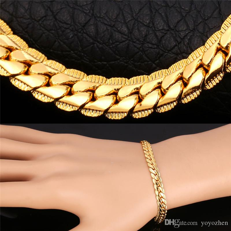 e5ab18160b9895 Men Gold Bracelets 6MM/9MM Chain Rose Gold/Platinum/Black Gun/18K Gold  Plated Curb Link Chain Colorful Bangles Latest Bangles Design From  Yoyozhen, ...
