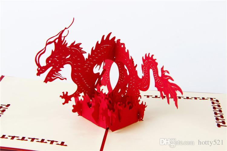 DIY Kübik Ejderha Katlanabilir 3D Pop UP Kart El Yapımı Kağıt Sanat Oyma Tebrik Hediye Kartları ücretsiz kargo