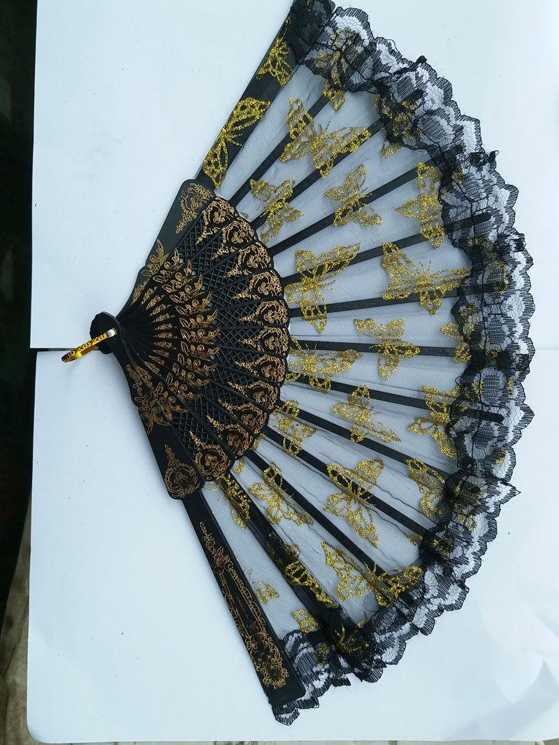 Borde de cerda joven del cordón del estilo chino del ventilador de plástico encaje de aguja de oro de la mariposa de encaje transparente de plástico portátil abanicos plegables /