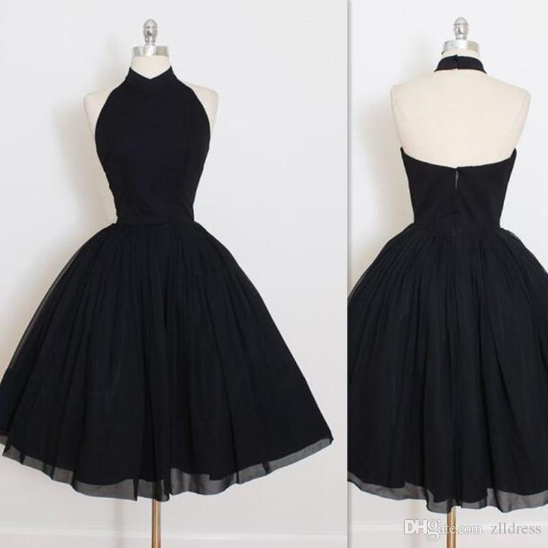 2017 Black Halter Prom Dresses Short Ball Gown Real Photo Homecoming ...