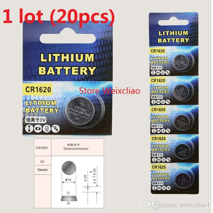 20pcs 1 lot CR1620 3V lithium li ion button cell battery CR 1620 3 Volt li-ion coin batteries Free Shipping