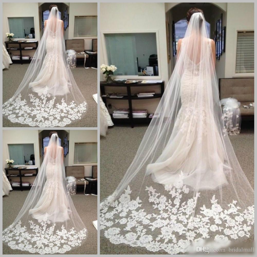 Best Selling Cheapest Long Wedding Veils 2017 Chapel Length Bridal Veil Appliques Veu De Noiva Longo Lace Purfle With Comb Custom