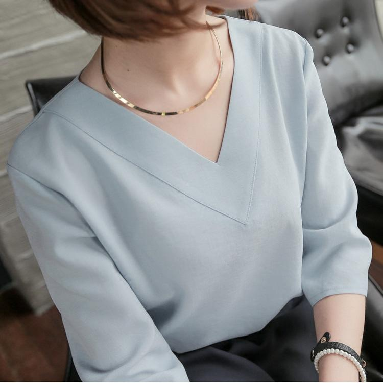 Venta caliente primavera verano coreano casual con cuello en v gasa suelta blusas de las mujeres camisa más tamaño blanco rosa damas blusa tops blusas