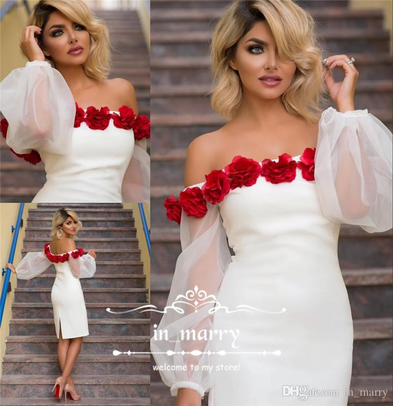 Sexy White Short Cocktail Party Dresses 2017 Off Shoulder Puffy Long ...