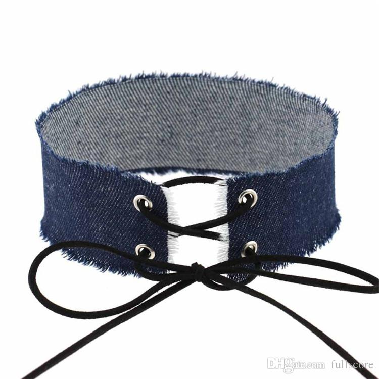 Bohemia Style Four Color Choice Width Chunky Blue Jeans Choker Necklace Women Gothic Lace Up Denim Collar Choker Jewelry 2017 Wholesale